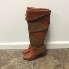 """shi by Journey Boots Very Cute shi by Journey 2-Tone Chestnut Heeled Boots with Faux Suede Inner Liner!! Heels Have Sine Signs of Wear as Shown in Photo. Otherwise Excellent Condition! Leather Sole Synthetic Upper 3-1/4"""" Heel Approx. 17"""" H 15"""" Circumference Shi Shoes Heeled Boots"""