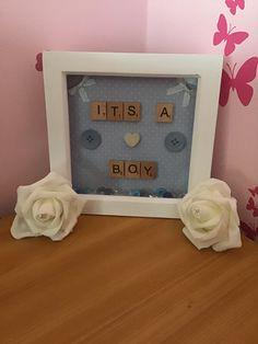 Its a boy scrabble tile box frame handmade Scrabble Tiles, Handmade Frames, Bank Holiday, Wooden Hearts, Box Frames, Fun, Etsy, Things To Sell, Craft Frames