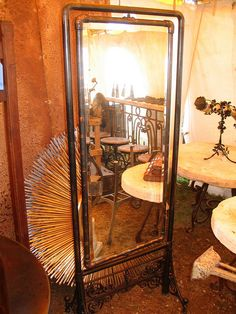 Steampunk Mirror not exactly steampunk, but definitely Victorian meets industrial. good look