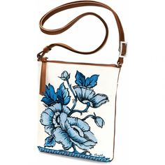 The Bella Capri Embroidered Pouch by Brighton features finely detailed blue orchids and poppies on its soft and white leather exterior. Brighton Handbags, Brighton Bags, Designer Purses And Handbags, Luxury Handbags, Capri, Novelty Bags, Kate Spade Handbags, Leather Pieces, Wholesale Handbags