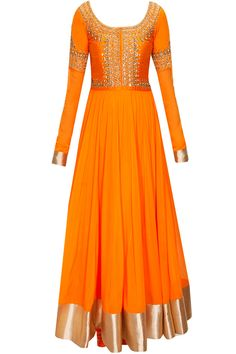 I actually want a dress in this colour. Orange embroidered yoke anarkali set by Vasavi Shah. Indian Gowns, Indian Attire, Indian Ethnic Wear, Mode Bollywood, Bollywood Fashion, Pakistani Outfits, Indian Outfits, Salwar Kameez, Desi Clothes