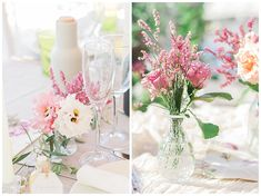 Chic spring wedding table decoration with pink limonium, pink lisianthus and olive in vintage cut glass vases. Destination wedding at Seaside Restaurant Lefkada Greece