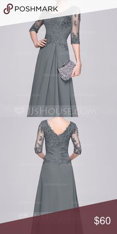 Floor-Length Grey Chiffon Dress A-Line/Princess Scoop Neck Floor-Length Chiffon Mother of the Bride Dress With Ruffle Beading Appliques Lace Sequins  Custom Size: Fits like an 8 Bust: 38inch Waist: 32inch Hips: 38inch Hollow to Floor: 55inch Height (Bare Foot): 67inch Color: Picture  Custom Size Fee: US$19.99 JJ's House Dresses Wedding