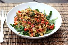 This delicious warm lentil salad is packed with nutrients and flavours from a great combination of different vegetables – the perfect healthy, gluten-free comfort food for a cold day! #glutenfree #lentilsalad #healthy