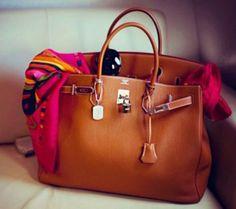 Hermes Birkin Bag and Vintage Scarf- Hermes handbags collection http://www.justtrendygirls.com/hermes-handbags-collection/