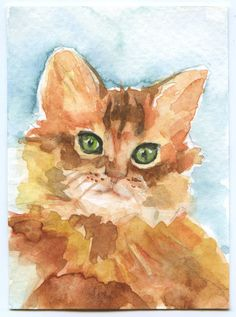 """Kittty Cat ACEO ATC Watercolor Print (the original has been sold) This sweet little cat is 2.5"""" x 3.5"""". Artist hand signed and dated on back and comes in a protective clear plastic sleeve. ACEO: Art C♥•♥•♥"""