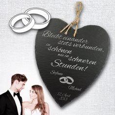 Amazon.de: Schieferherz mit Gravur zur Hochzeit - Motiv [Eheringe] - Personalisiert mit [Namen] und