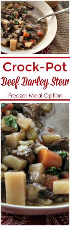Crock-Pot Beef Barley Stew - Prepare this easy recipe for Slow Cooker Barley Beef Stew as a freezer meal or just make it and enjoy. Full of hearty beef, veggies and barley you'll love it! #crockpot #slowcooker #recipes #soup #CrockPotLadies