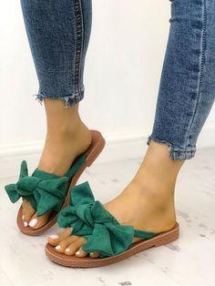 a4651cdd2 Casual Bowknot Toe Post Flat Sandals Zapatos Bonitos