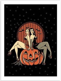Witches and pumpkin Halloween Pin Up, Spooky Halloween, Vintage Halloween, Halloween Crafts, Vintage Witch, Dibujos Pin Up, Arte Obscura, Vintage Horror, Vintage Cartoon