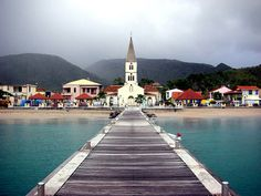 Sea, church and cloudy sky - Les Anses d'Arlet, Martinique