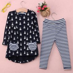 ecd35e084e99 New Girls Clothes Fashion Cute Kids Cartoon Rabbit Print Pocket Dress and  Striped Leggings Children Set - Kid Shop Global - Kids   Baby Shop Online -  baby ...