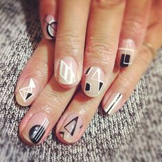 Disco Geometric Nails. No base colour needed. Great idea!