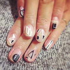 Disco Geometric Nails. No base colour needed. Great idea!