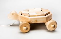 Wooden Handmade Turtle Truck with blocks Eco by LithuaniaDESIGN