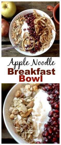 Have a spiralizer on hand? You need to make these apple noodles for breakfast! This Cinnamon Apple Noodle Breakfast Bowl with Candied Nuts! Can be vegan and paleo too!