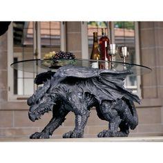 "Design Toscano CL3039 Kneeling Dragon Table with Glass 39""L # 93039 Design Toscano http://www.amazon.com/dp/B001M5I4XW/ref=cm_sw_r_pi_dp_iKztvb147VKRS"
