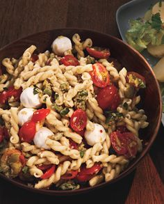 Instead of bottled italian dressing, this dressed-up pasta salad gets its kick from olivada, a zippy sauce made of chopped green olives, capers, red wine vinegar, mustard, and crushed red pepper.