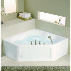 acrylic center drain neo angle straight corner alcove whirlpool bathtub in white - Luxusbad Whirlpool