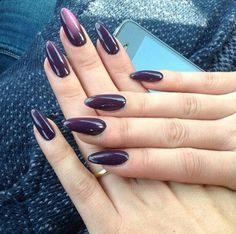 Plum Purple Round Tip Acrylic Nails