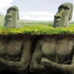Easter Island Moai Statues Beneath the Surface Humor Postcard Ancient Aliens, Easter Island Statues, One Photo, 1000 Lifehacks, Beneath The Surface, Akita, Anthropology, Archaeology, Funny Pictures