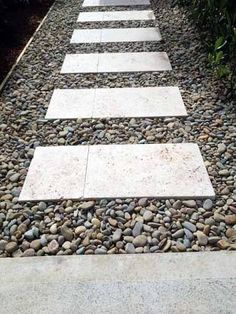 landscaping ideas timber pebbles and travertine - Google Search