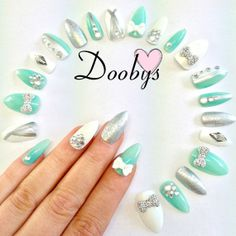 Doobys Stiletto  Mint Diamante  24 Hand Painted by Doobys1989, £15.99
