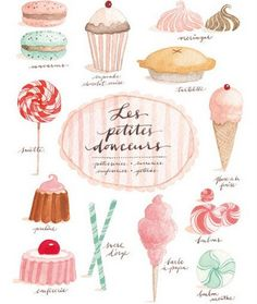 French pastries illustration.