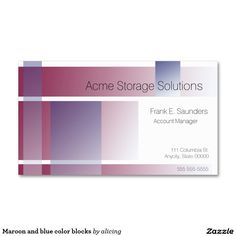 Maroon and blue color blocks business card