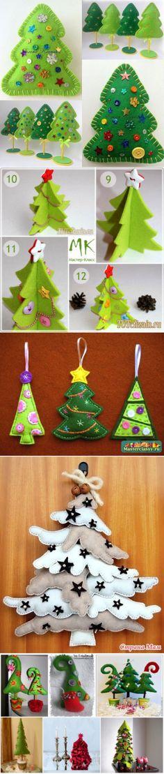 >Новогодние елочки из фетра.(огромный выбор) Christmas Gnome, Christmas Ornaments, Sweet Paul, Felt Decorations, Advent Calendar, Holiday Decor, Girly Girl, Feltro, Christmas Crafts