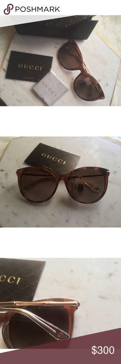 "Authentic Gucci Cat Eye Sunglasses These Brand New Genuine GUCCI Cat Eye sunglasses are a super find and perfect for the summer!! Features a semi translucent acetate frame in a large, oversized cat eye shape. The sides feature a ""bamboo"" texture and are a high quality metal in a rose gold tone. These sunnies honestly would be flattering on any face shape!   ✨Cat Eye GUCCI Sunglasses  ✨Made in Italy  ✨ Genuine Leather Case with grey velour lining and Gucci Cleaning Cloth ✨Authenticity Card…"