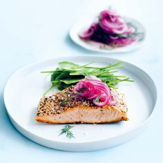 Quick, crispy salmon with dill pickled onions recipe from Donna Hay's new cookbook, The New Easy Easy Salmon Recipes, Fish Recipes, Seafood Recipes, Great Recipes, Cooking Recipes, Jamie Oliver, Dill Salmon, Baked Salmon, Salmon Fillets