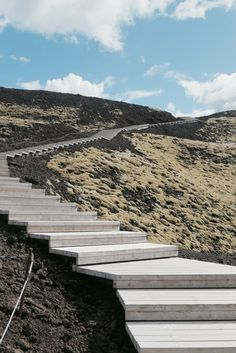 Stairway up Mt. Grábrók, West Iceland. www.travelade.com.