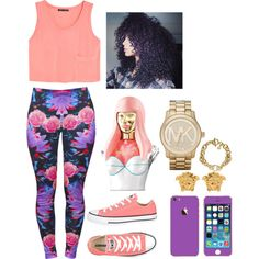 Pink and purple <3 by xbambiix on Polyvore featuring MANGO, Converse, Michael Kors, Versace and Nicki Minaj