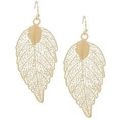 Fall Leaf Filigree Earrings ($10) ❤ liked on Polyvore featuring jewelry, earrings, gold, earring jewelry, gold leaves earrings, gold leaf earrings, yellow gold jewelry and gold jewellery