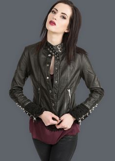 Easy Rider Black Vegan Leather Studded Slim Fit Biker Jacket