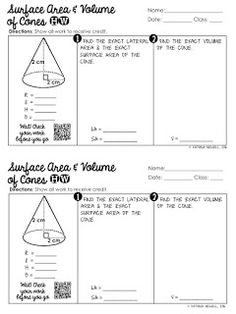 Surface Area and Volume of Cones Homework