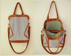 Nautical striped tote with hand woven leather detailing   by Arc of a Diver