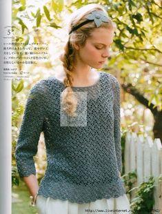 "Photo from album ""Lets knit series on Yandex. Knitting Books, Crochet Books, Crochet Shirt, Knit Crochet, Crochet Summer Tops, Book Crafts, Crochet Clothes, Crochet Patterns, Womens Fashion"