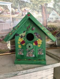 Handcrafted Decorative Birdhouse  Green W/ by Bloomsbotanicals, $75.00