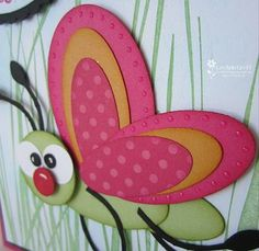 Adorable insect made with punches.  2 different graduated oval punches and  circles.