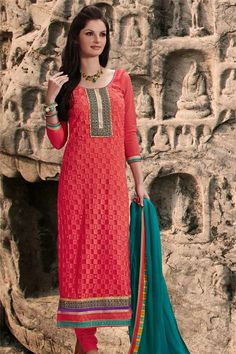 Splendid Pink Georgette Resham Embroidered Straight Cut Suit