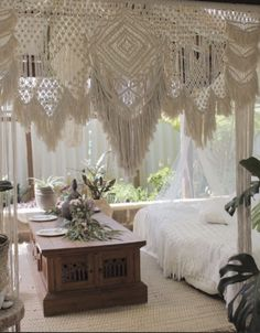 ~HIRE ONLY~  Wedding macrame backdrop arbour http://www.pineandlace.com/macrame/Macrame-wedding-backdrop