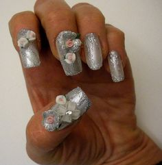 False 3D French Nails Handmade Decorated with by VIPartgallery, $15.00