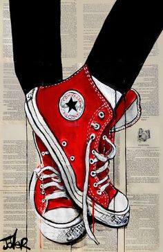 Save this cool red Converse shoe drawing over book pages by artist Loui Jover for some inspo for your next art drawing! Converse Rouge, Red Converse, Arte Pop, Shoe Art, Chuck Taylor Sneakers, Cool Drawings, Beautiful Drawings, Art Sketches, Amazing Art