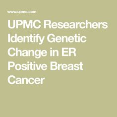 UPMC Researchers Identify Genetic Change in ER Positive Breast Cancer