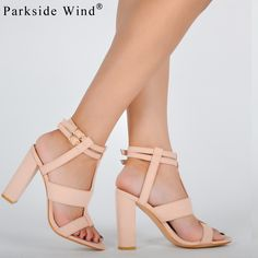 396d81ee554  33.90 Parkside Wind Suede Leather Girl s Sandals Navy Heel Party High Heels  Buckle Shoes Woman Khaki