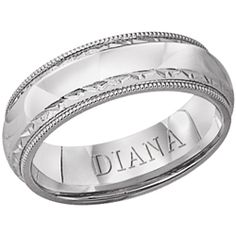 6mm comfort fit wedding band hand chased with milgrain detail from Diana