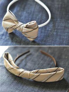 Unique Craft Ideas from Men's Neck Ties DIY: old tie into 2 new bows