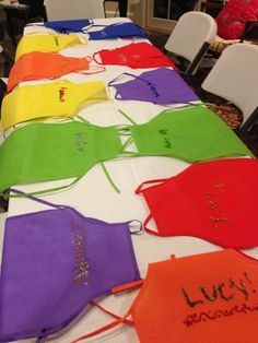 Colorful aprons at a kid's art party!  See more party ideas at CatchMyParty.com!